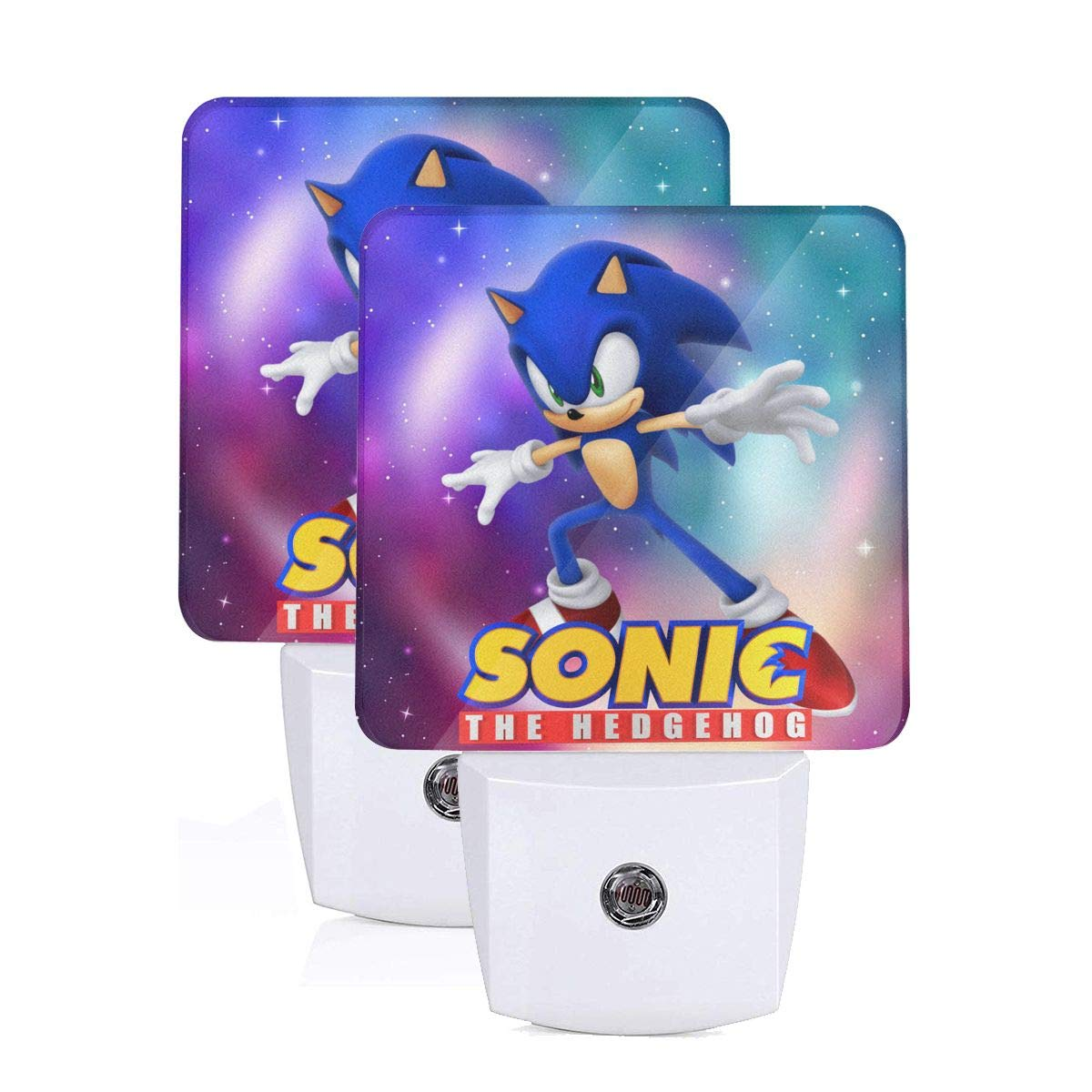 Plug in LED Night Light Set of 2, Sonic The Hedgehog Logo Automatic Dusk-Dawn Sensor Lamp, Daylight White Desk Nightlight Decor for Adults Sleeping Office