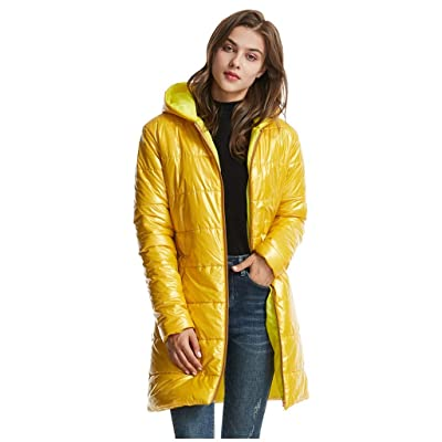 Sttech1 Women's Hooded DownJacket, Full Zip Hooded Light Weight Hip-Length Puffer Jacket Warmth Outerwear with Pockets at Women鈥檚 Clothing store
