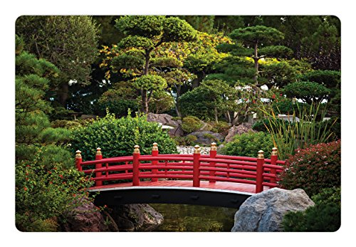 Lunarable Japanese Pet Mat for Food and Water, Bridge Over Pond in Japanese Garden Monte Carlo Monaco with Trees and Plants, Rectangle Non-Slip Rubber Mat for Dogs and Cats, Red and Green