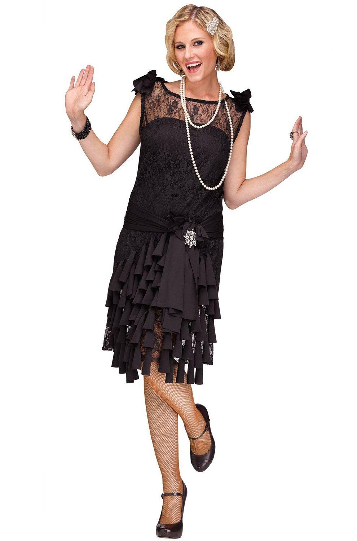 Fun World Women's Flirty Flapper Costume, Black, Small