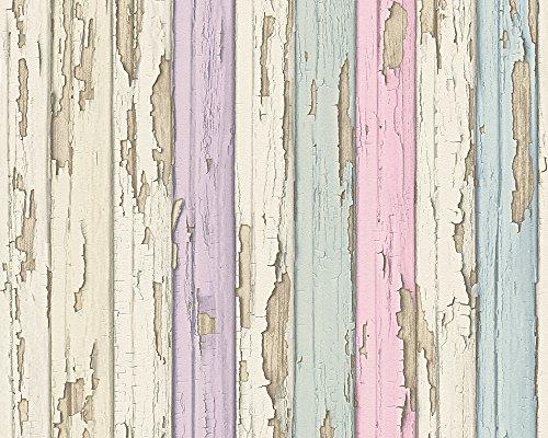 A.S. Création Tapete Dekora Natur, Mustertapete in Vintage-Holzoptik, beige, rosa, violett, 958832