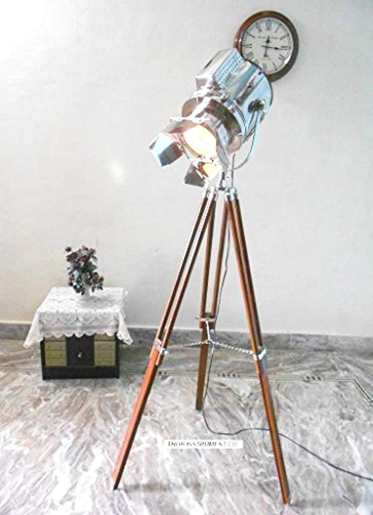 Thor Instruments.Co Retro Hollywood Searchlight Floor Lamp Tripod Lighting Spotlight Home Decor Lamp Gold