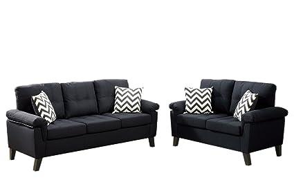 Sensational Amazon Com Vanna 2 Pc Black Polyfiber Sofa Set By Poundex Creativecarmelina Interior Chair Design Creativecarmelinacom