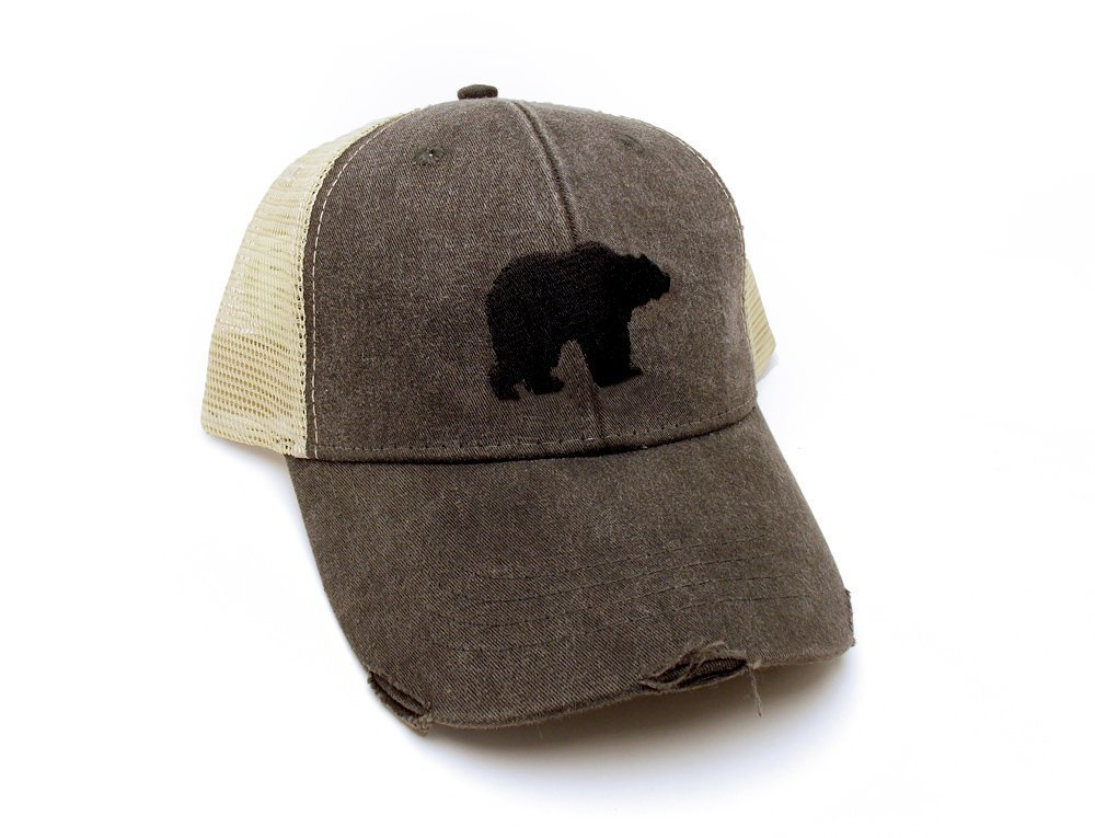 Trucker Hat - Bear Silhouette - Men's Distressed Mesh Backed Hat - 3 Color Options