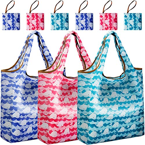 Reger Foldable Nylon Light Weight Compact Grocery Shopping Storage Bags Reusable & Mathine Washable Fits in Pocket Eco Friendly (Dolphin Prints, Pack of 6)