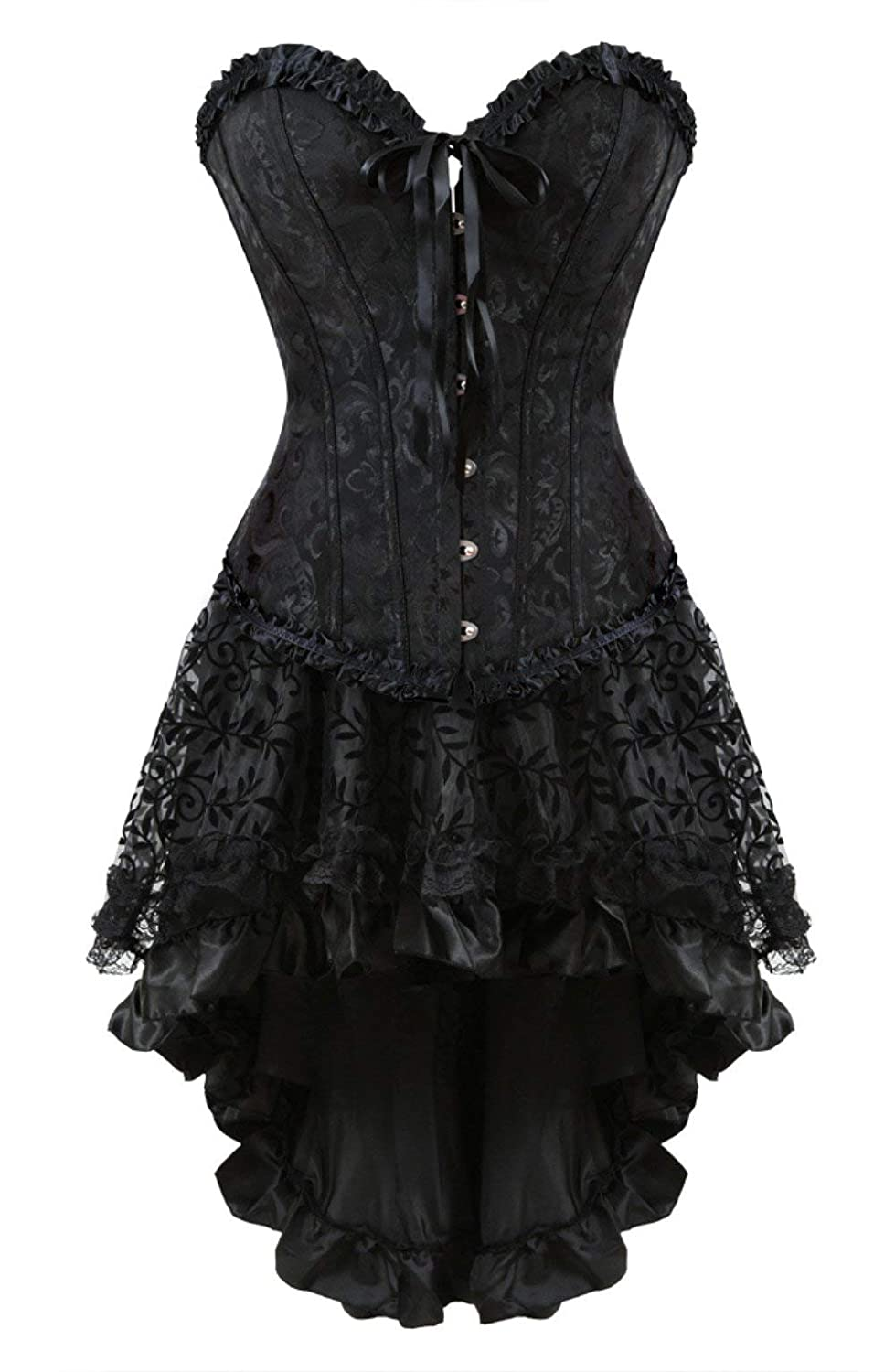 819 Black Grebrafan Steampunk Corset Skirt with Zipper,Multi Layered High Low Outfits