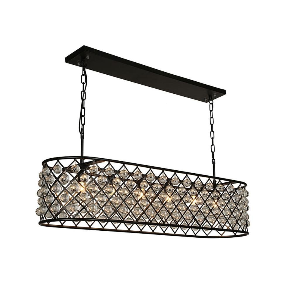 Perfectshow 6-light Spencer Rectangle Chandelier Ball Shade Glass 41-inche Island Pendant Metal Black