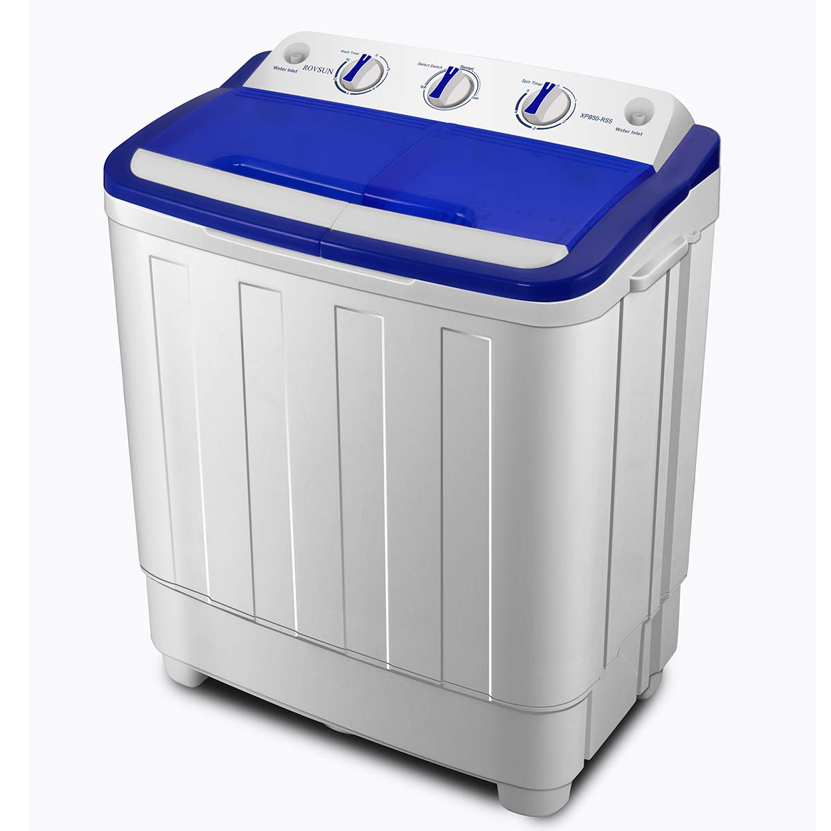 ROVSUN 16.6 LBS Portable Twin Tub Washing Machine, Electric Compact Washer, Energy/Save Space, Laundry Spin Cycle w/Hose, Great for Home RV Camping Dorms Apartments College Rooms