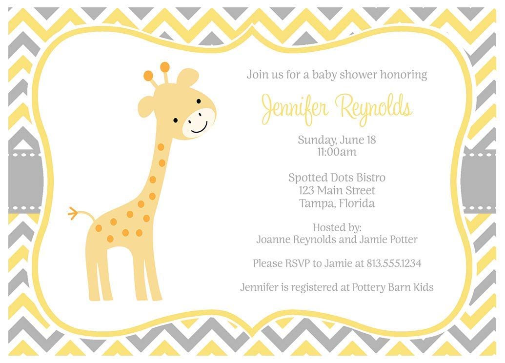 Giraffe Baby Shower Invitations Sprinkle Invites Chevron Stripes Grey Gray Polka Dots Yellow Orange Jungle Safari Customized Gender Neutral Unisex Animals 10 Count