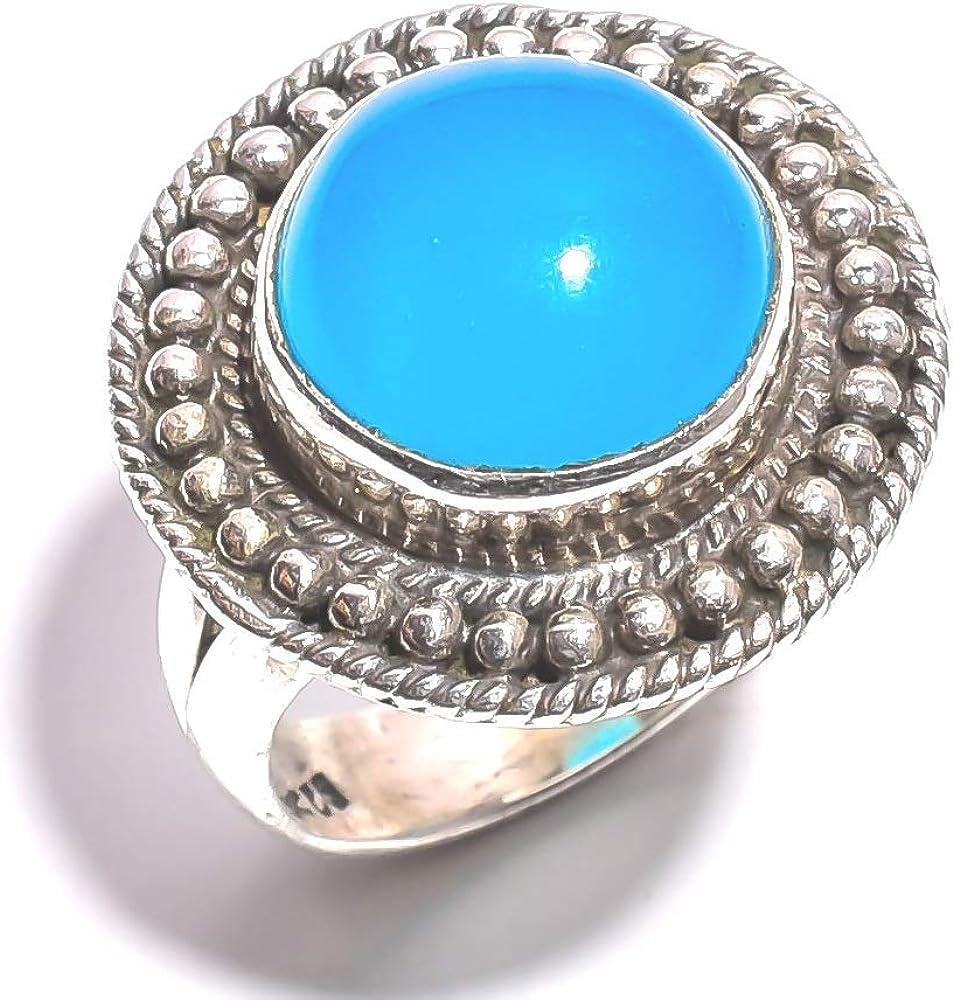 mughal gems & jewellery Anillo de Plata esterlina 925 Anillo de joyería Fina de calcedonia Azul Natural y Piedras Preciosas (tamaño 7 U.S)