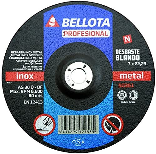 Bellota 50361-180 DISCO ABRASIVO PROFESIONAL DESBASTE INOX-METAL BLANDO 180MM