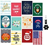 12 Pack Seasonal Garden Flag Set for Outdoors Lawn Decor + FREE wind clip and stopper- double-sided, polyester, durable, decorative, festive, 12x18 Inches