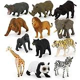TOYMYTOY 動物 模型 モデル フィギュア 野生動物 おもちゃ ミニ 子供 教育認知 プラスチック 人気動物 アニマル 動物園 誕生日 プレゼント 知育玩具 コレクション 12セット