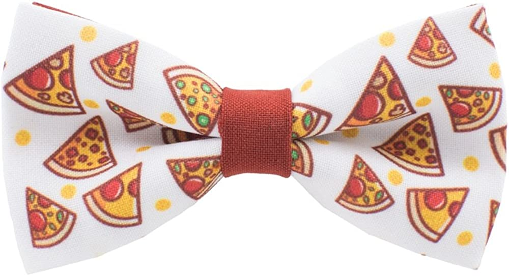 Slice of Pizza bow tie fast-food pattern pre-tied shape, by Bow Tie House