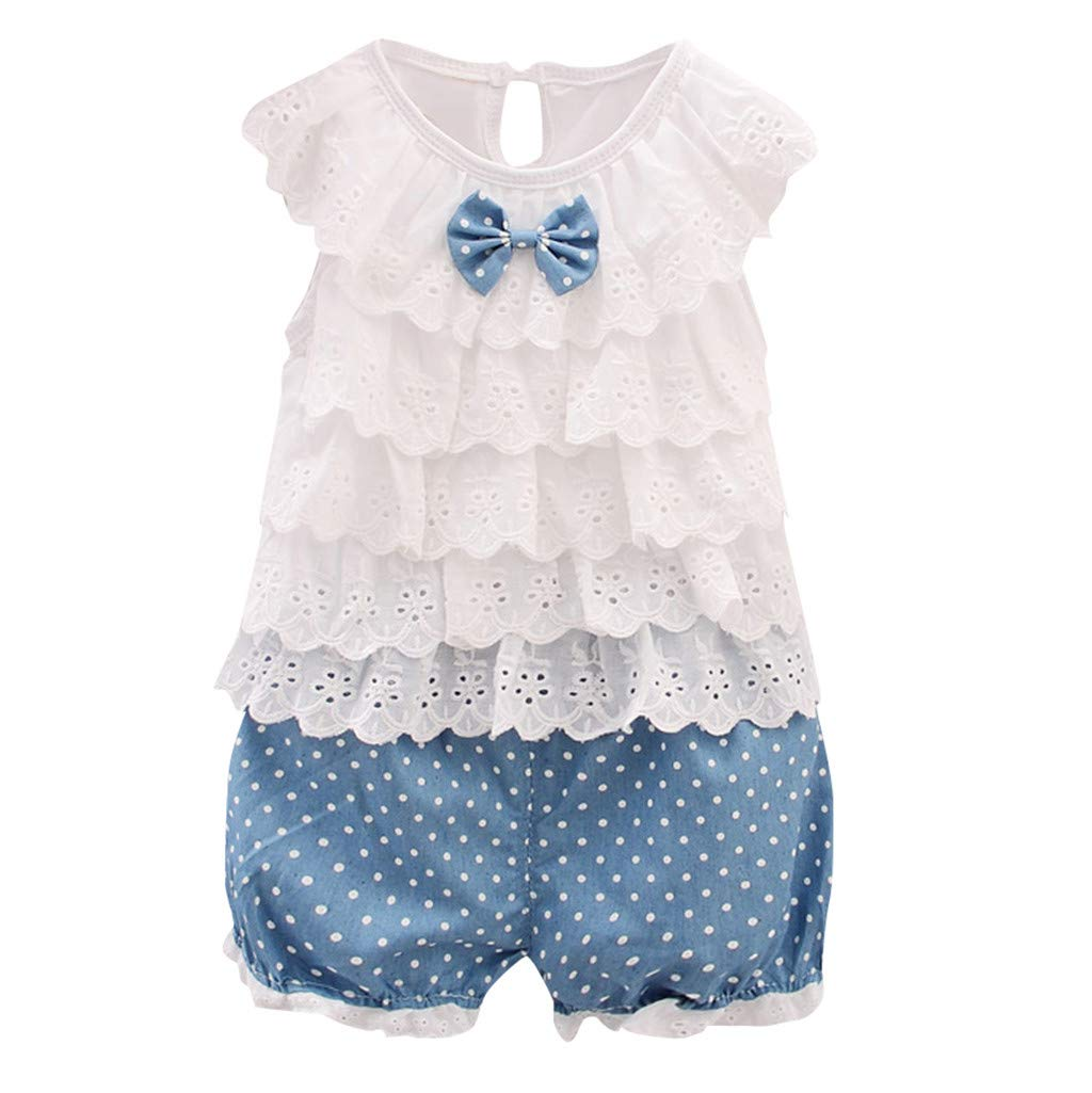 b337727fa Amazon.com: 2pcs Baby Girl Outfits, Toddler Kid Sleeveless Ruffle Bowknot  Tops T-Shirt +Dot Shorts Clothes Set (2-3 Years, Pink): Kitchen & Dining