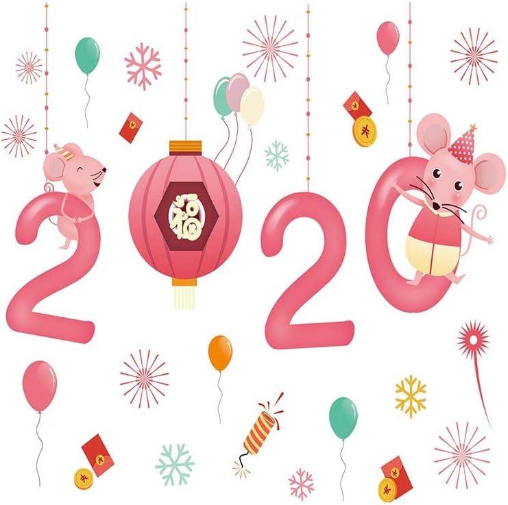 2020 Pwtchenty Window Sticker Home Decoration Stickers Pegatina De Ventana RatóN Regalos Navidad Pegatinas DecoracióN Del Hogar Feliz AñO Nuevo Cartoon Mouse