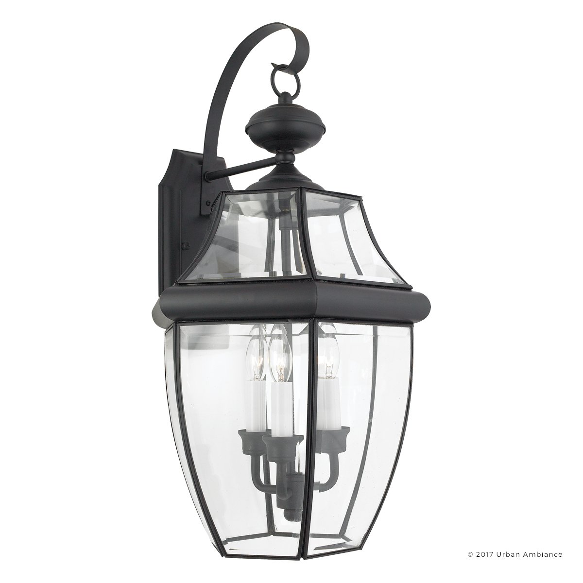 Luxury Colonial Outdoor Wall Light, Large Size: 22.5''H x 12.25''W, with Tudor Style Elements, Versatile Design, High-End Black Silk Finish and Beveled Glass, UQL1146 by Urban Ambiance