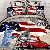 HYAM 4pc 100% Cotton 3d Duvet Cover Set No Inside Comforter or Duvet American Statue of Liberty Flag Printing Full Size (sjf-06)