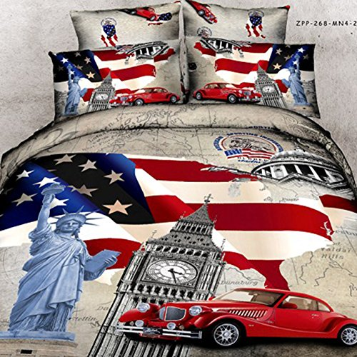 HYAM 4pc 100% Cotton 3d Duvet Cover Set No Inside Comforter or Duvet American Statue of Liberty Flag Printing Full Size (sjf-06) - Flag Comforter Set