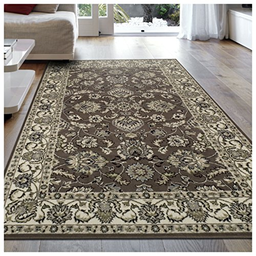 Modern Elegance Brown Floral Rug (Superior Elegant Lille Collection Area Rug, 8mm Pile Height with Jute Backing, Beautiful Chic Bordered Rug Design, Anti-Static, Water-Repellent Rugs - Brown, 8' x 10' Rug)
