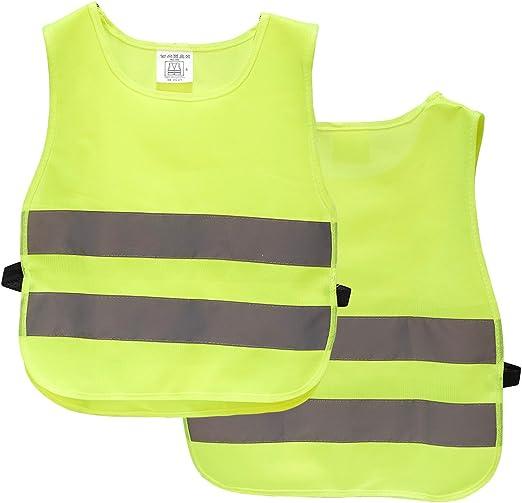 Boys /& Girls Hi-Viz Waist Coat Children High Visibility Reflective Kids Lot 806