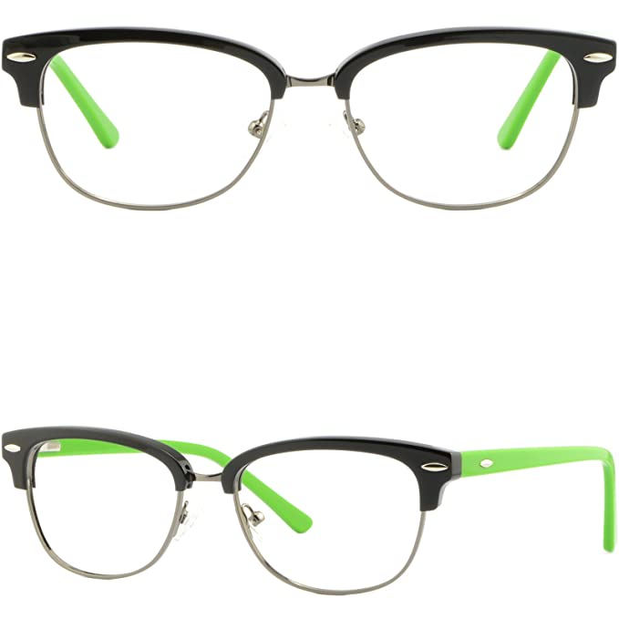 52b2495a09b Image Unavailable. Image not available for. Color  Womens Girls Browline  Frame Plastic RX Prescription Glasses Spring Hinges Black
