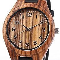 iMing Handgefertigte Uhren Natürlich Holz Echtes Lederband Armbanduhren Geschenke