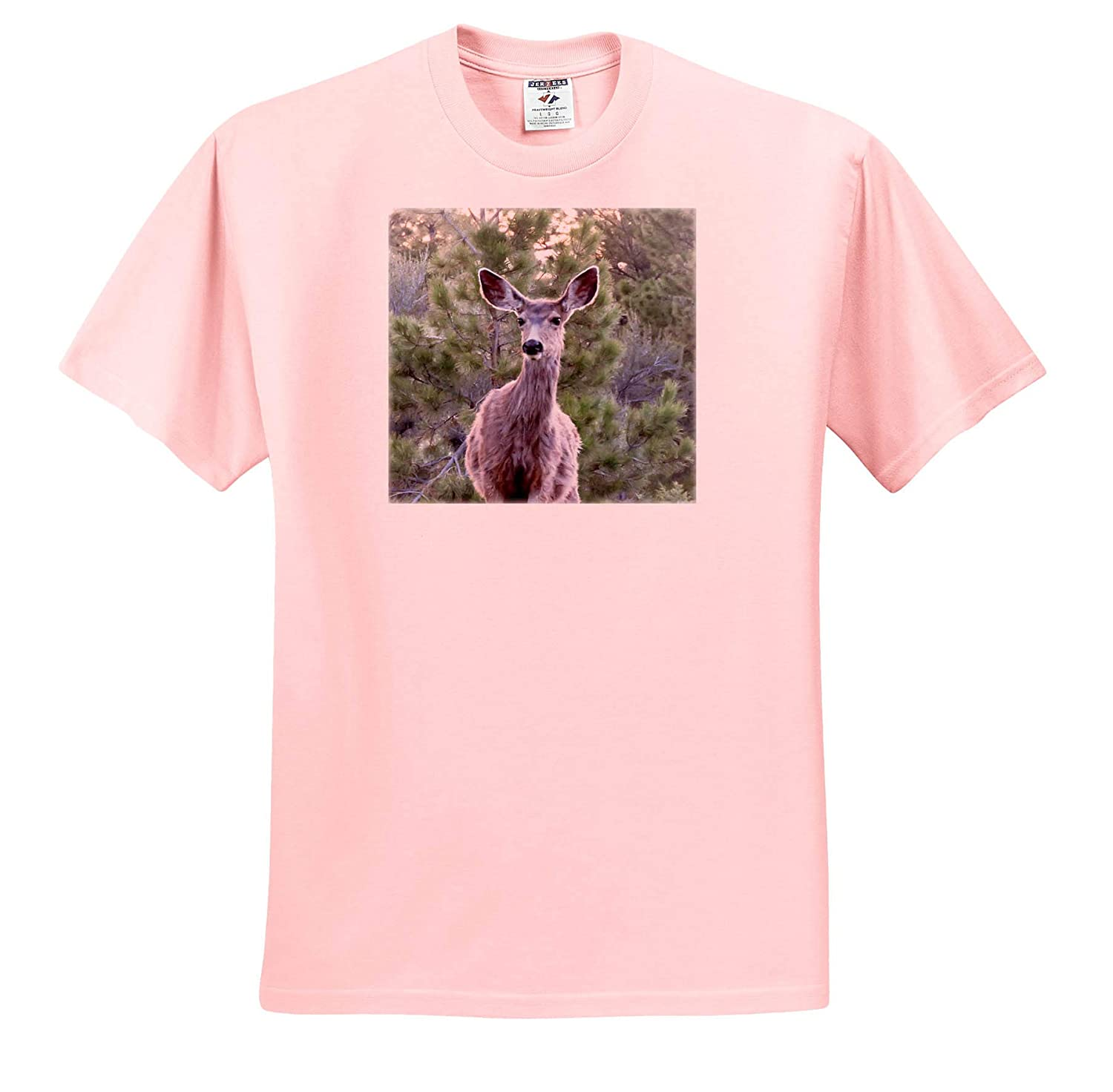 Adult T-Shirt XL 3dRose Jos Fauxtographee- Deer ts/_319576 A Deer Close up with a Green Shrubbery Background