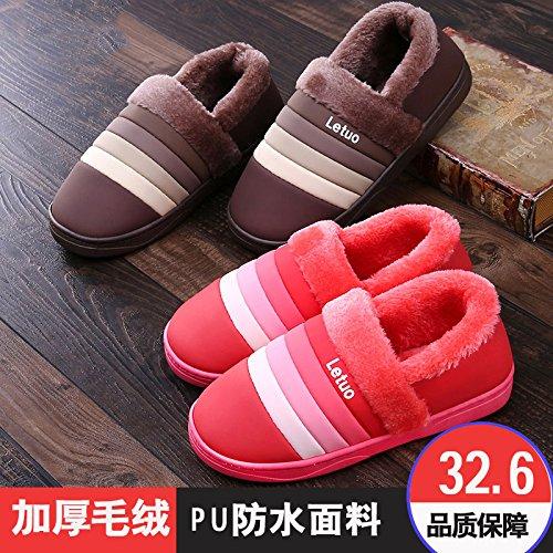 Gli uomini e le donne di cotone pacchetto pantofole con belle coppie di spessore maggiorato di velluto capelli caldo trascinato sulla scarpe impermeabili di cotone femmina pantofole ,36-37 (per tempo