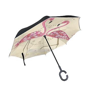 jstel doble capa diseño Flamingo Love flores paraguas coches Reverse resistente al viento lluvia paraguas para