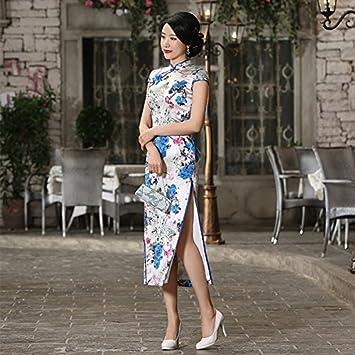 GUYIVVU Cheongsam Chinesisches Traditionelles Kleid 100% Seide Lange ...