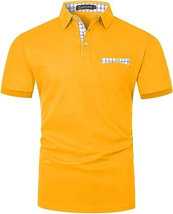 GHYUGR Polos Manga Corta Hombre con Bolsillo Real de Costura a Rayas Camiseta Verano Golf Tennis T-Shirt Trabajo Camisas: Amazon.es: Ropa y accesorios
