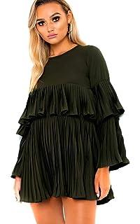9a6b8631617b Ikrush Womens Tessy Frill Shift Dress White UK 6: Amazon.co.uk: Clothing