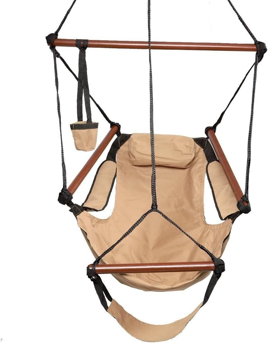 ROVSUN Hanging Hammock Chair, Air Sky Swing Rope Chair, Solid Wood Hanging Seat Pillow, Drink Holder, Armrest, Foot Rest Yard Garden Patio Indoor Outdoor Use, 250 lbs Brown