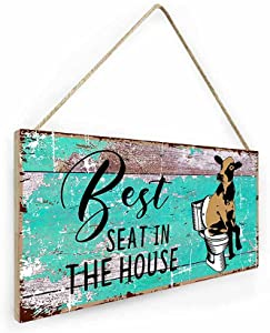 vizuzi Best Seat in The House Funny Bathroom Sign, Funny Cute Guest Bathroom Decor Wall Art, Cow Farmhouse Home Decor, Restroom Sign for Bathroom Wall with Funny Quotes
