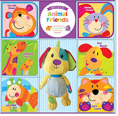 Kidsbooks Animal Friends Deluxe Baby Set, Includes 2 Bath Books with Built-in Squeakers, 2 Cloth Books with Crinkle Sound, 2 Board Books, and Plush Pal Dog Keepsake