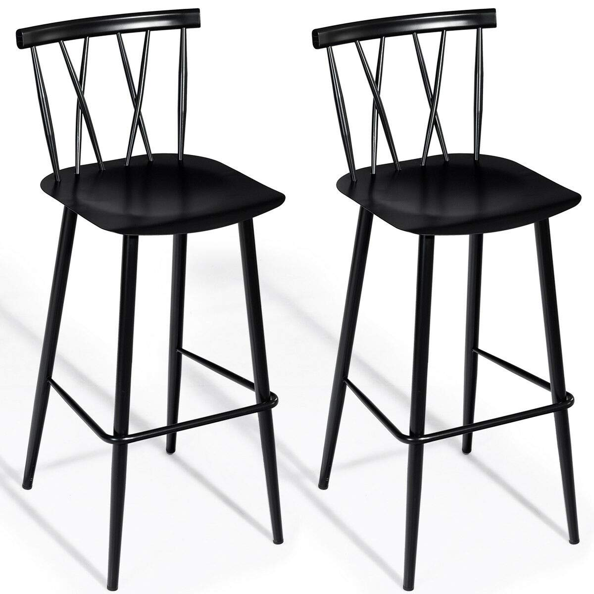 COSTWAY Dining Chair, Chic Bistro Cafe Side Chair Side Chair for Indoor, Modern Metal Chair with Backrest Bar Chair with Sturdy Metal Construction Cafe Chair Barstool Set of 2 Height 29.5