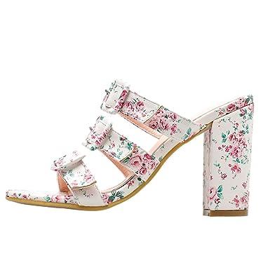 49f90f6b2dc7 Amazon.com  Summer Women Buckle Strap Block High Heel Sandals Ladies Prom  Party Shoe Slipper Heels Sandals for Women Girls Sexy  Clothing
