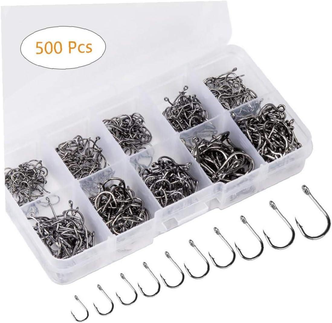 10 formati dacciaio di ami da pesca W//portatile scatola di plastica 500PCS ami amo da pesca con le sbavature di acqua dolce//acqua di mare