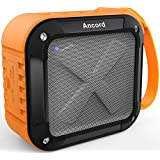 Ancord Waterproof Bluetooth Speaker with FM Radio IPX6 Portable for Outdoor 12 Hours Playtime Silicon Strap for Hanging Orange