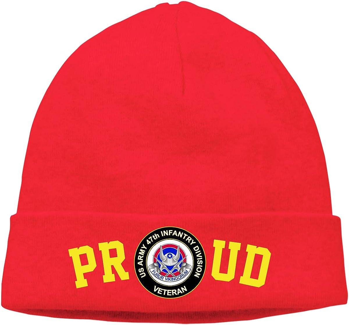 Proud US Army 47th Infantry Unit Crest Veteran Mens Beanie Cap Skull Cap Winter Warm Knitting Hats.