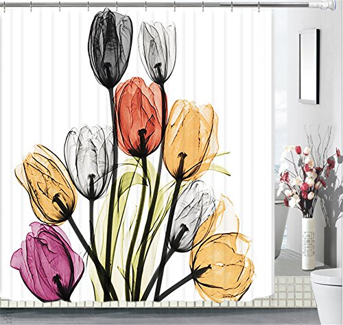 Floral Fabric Shower Curtain Set 72