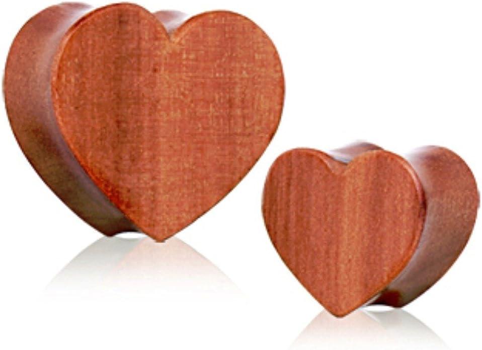 Heart Shape Organic Red Cherry Wood Double Flared Saddle Plug