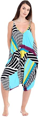 OneSize 4-22, Dog Tooth ZJ Clothes Womens Thin Strap Romper Baggy Harem Jumpsuit Playsuit