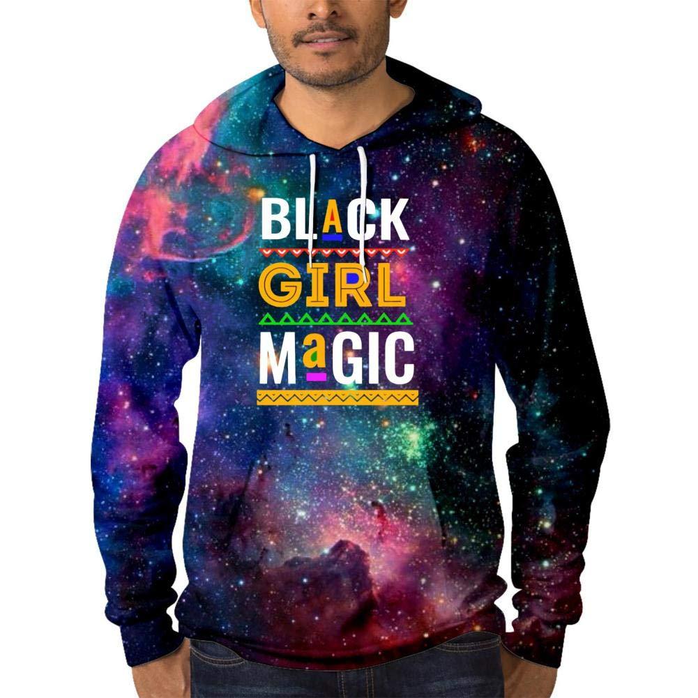 HNkiha Warm Mens Galaxy Hoodies,Funny Africa Pattern Black Girl Magic Comfortable Printed Pocket Thicken Sweater