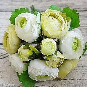 UHBGT 1 Bouquet Tea Rose Flower Artificial Silk Flower for Home DIY Decor 46