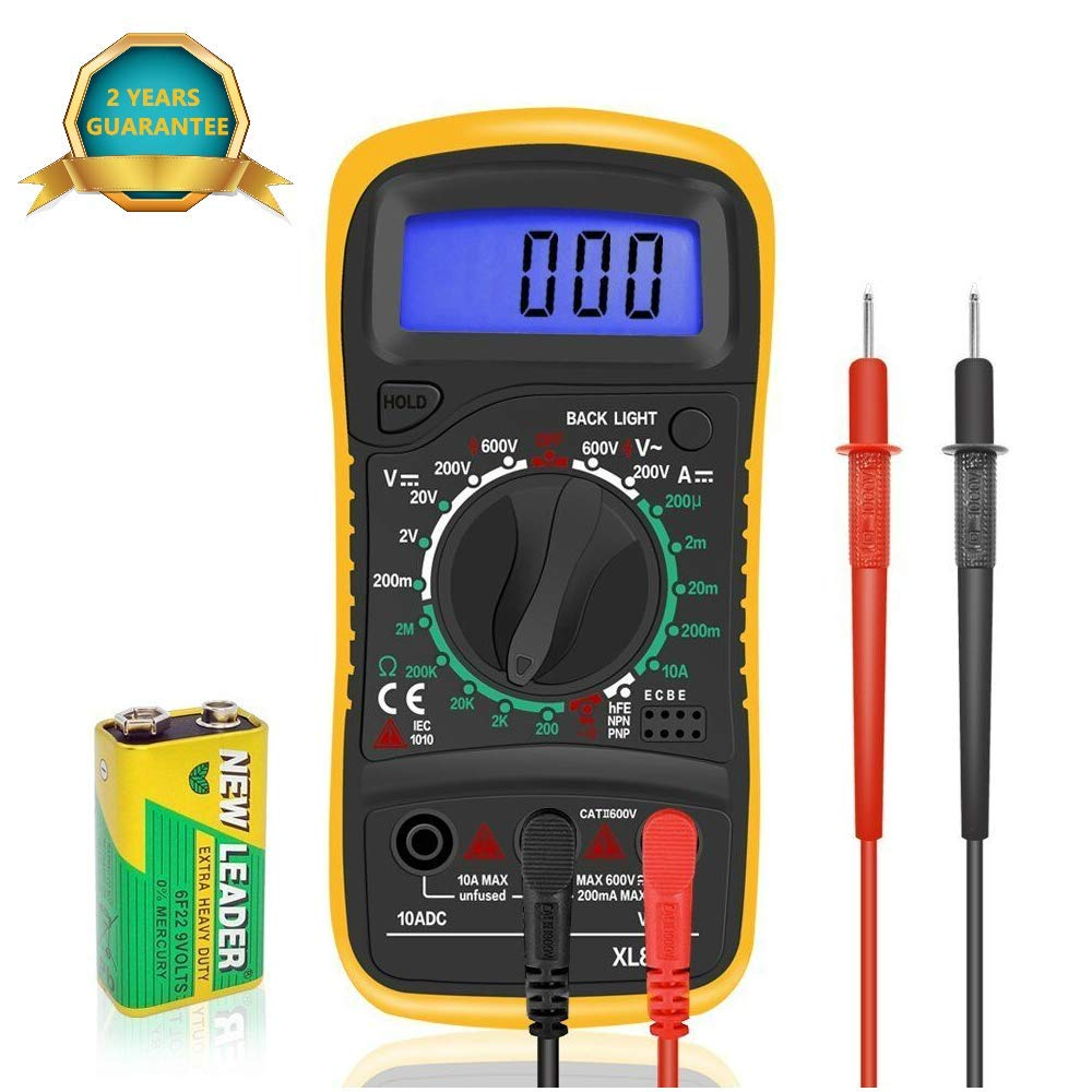 Digital Multimeter Electrical Tester Meters Voltmeter Ammeter Ohm Battery Circuit Multi Tester with Test Leads DC AC Voltage Current Resistance Diodes Transistor Backlight LCD Audible Continuity Measuring Meter CozyShop CA
