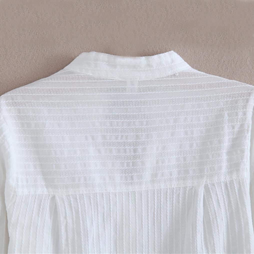 DEELIN Temperamento Moda De Las Mujeres OtoñO E Invierno con Cuello En V Camisa Blanca De AlgodóN De Manga Larga Camisa Blanca: Amazon.es: Ropa y accesorios