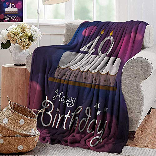 XavieraDoherty Sand Free Beach Blanket,40th Birthday,Big Color Dots and Graphic Cake with Candles Hand Writing and Stars,Purple Pink White,Soft Summer Cooling Lightweight Bed Blanket 50