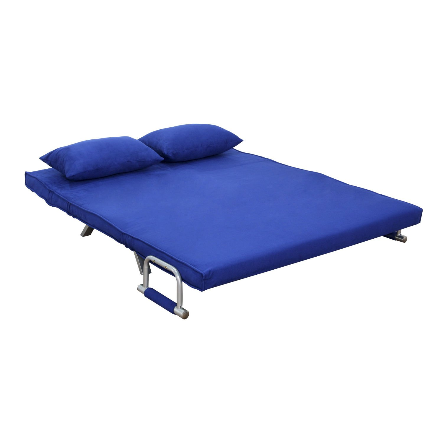 amazon com homcom 61 folding futon sleeper couch sofa bed blue